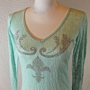 Mint Green Shirt M Long Sleeve Top From Buckle Sil